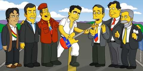 El músico colombiano Juanes toca la guitarra en el centro de los mandatarios. (Edwheeler.com)